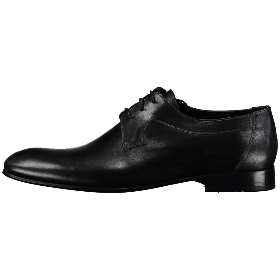 Front and side perspectives of black classic oxford lace-up shiny tuxedo dress shoes for men