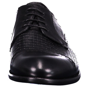 Front perspection for dark gray shiny shoes with lace