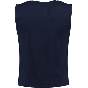 Back perspective for dark blue vest