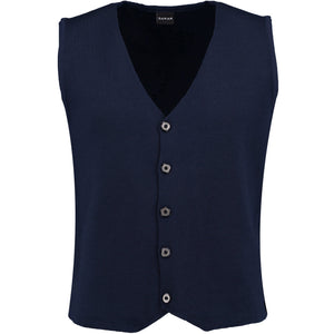 Front perspective of dark blue vest