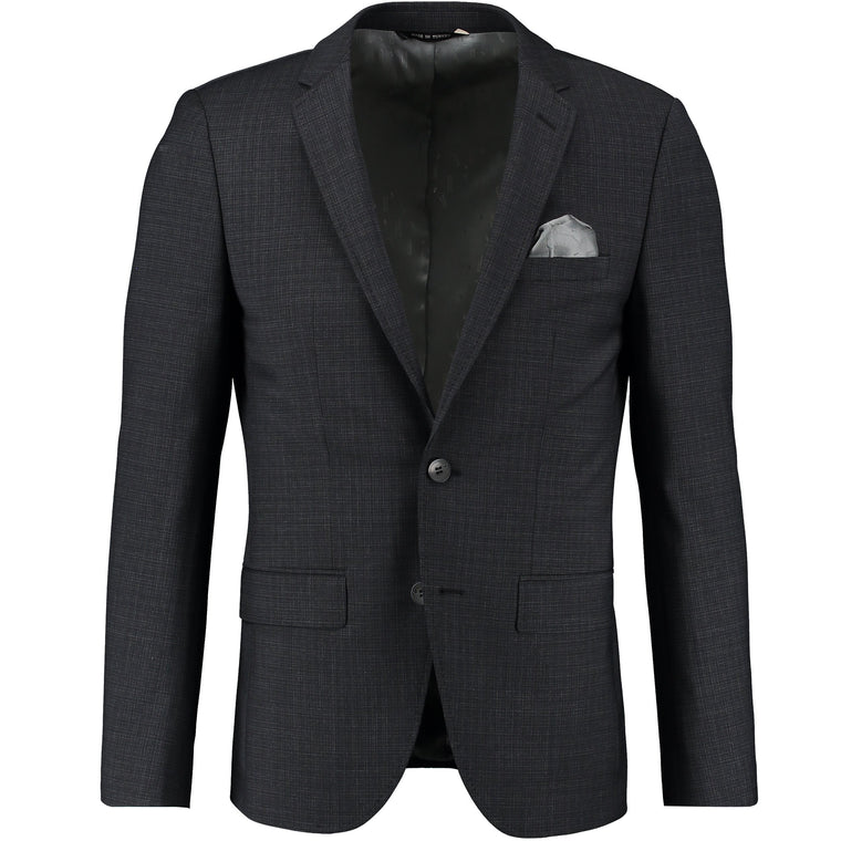 BLACK 2 BUTTON CHECK SUIT
