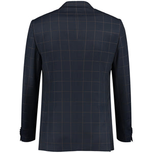 Back perspective of two buttons dark blue jacket for men