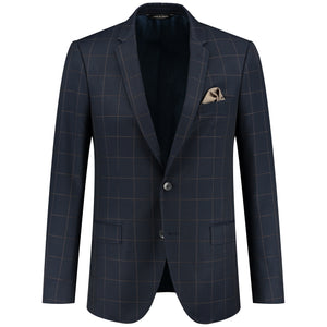 Front perspective of two buttons dark blue jacket for men