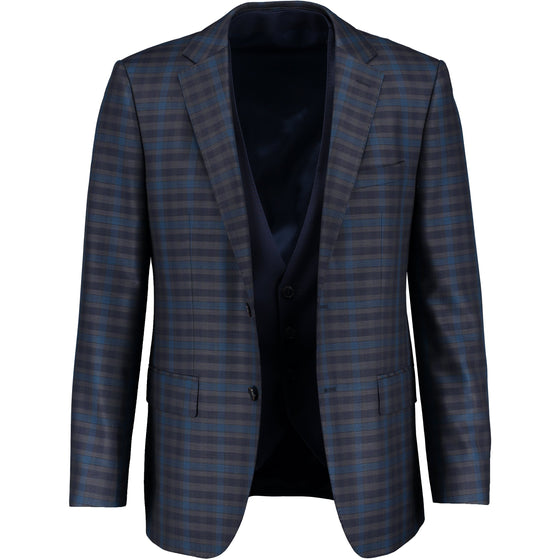 NAVY 2 BUTTON CHECK SUIT