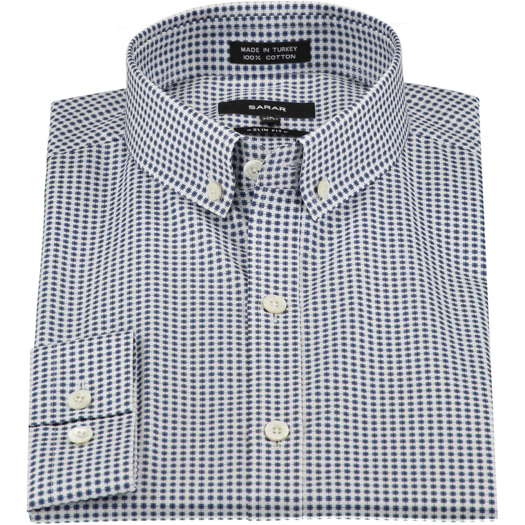 NAVY SPREAD (KENT) MICRO SHIRT