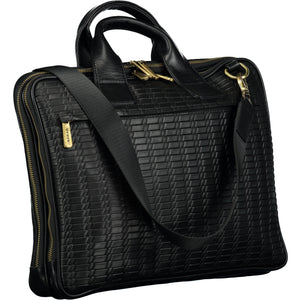 Zipper leather black bag with two main compartments
