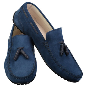 Dark blue suede moc toe slip-on shoes for men