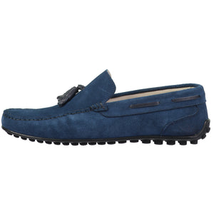 Side perspective of dark blue suede moc toe slip-on shoes for men