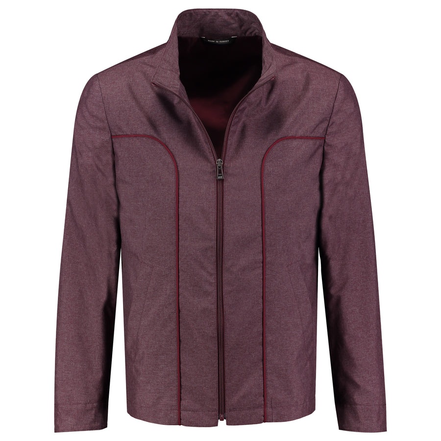 Front perspective of purple trenchcoat with zipper outerwear for men