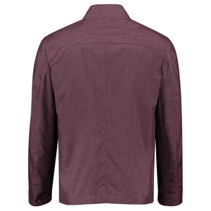 Back perspective of purple trenchcoat with zipper outerwear for men