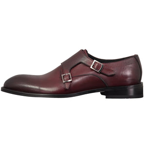 SARAR INTERVIEW Lace Shiny Classic Double Monk Strap Cap Toe Shoes for Men