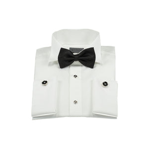 White tuxedo shirt with bow tie