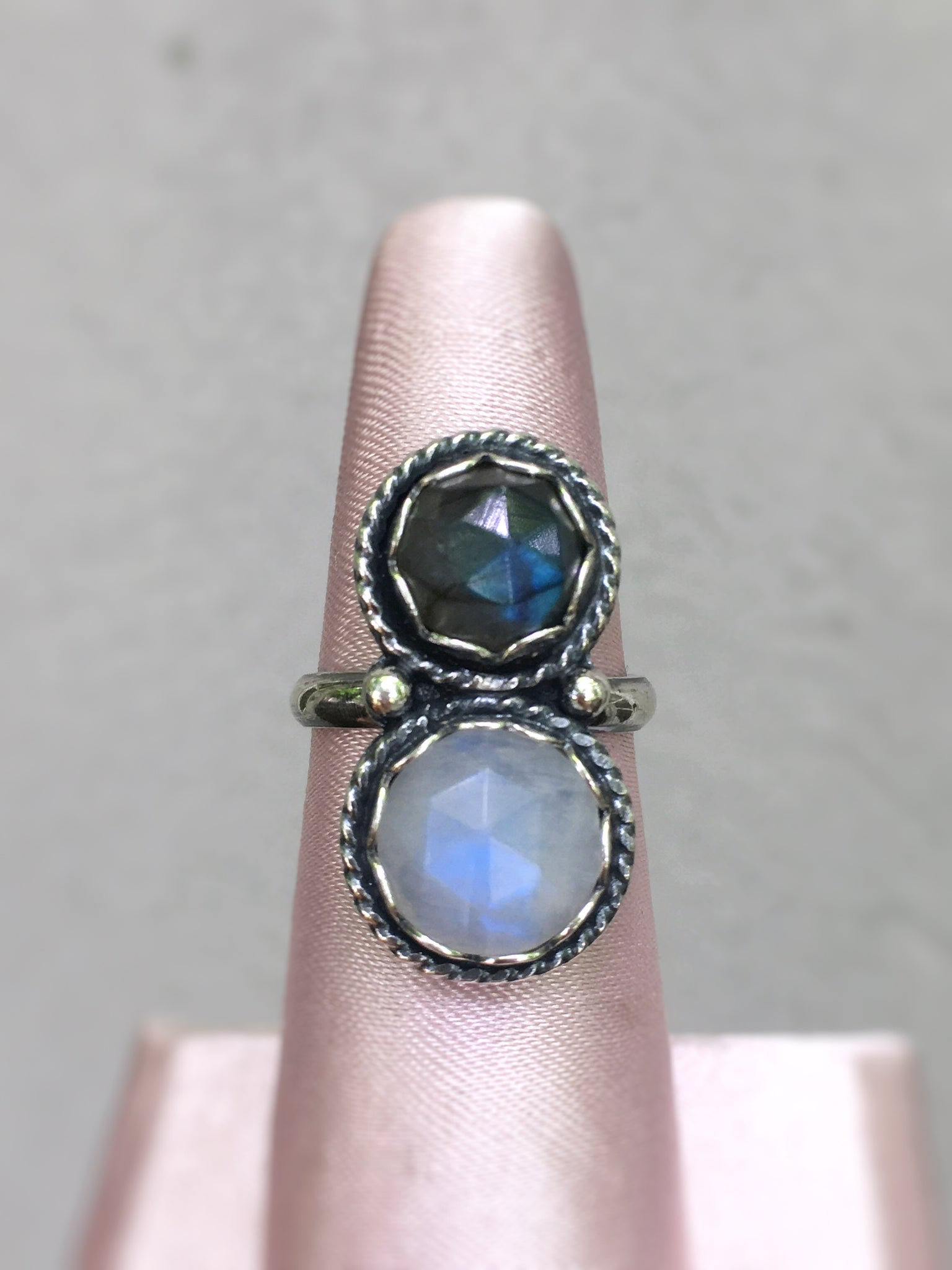Labradorite and Moonstone Ring - size 6.25