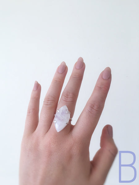 Moonstone Marquise Prong Ring