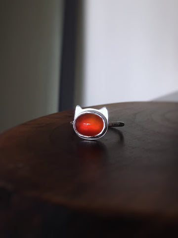 Cat Carnelian Ring - size 6.75