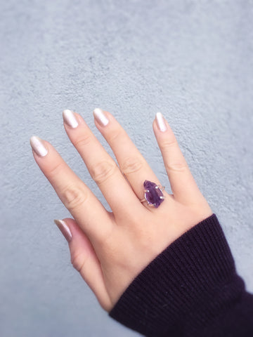 Rough Amethyst Prong Ring - size 6.35