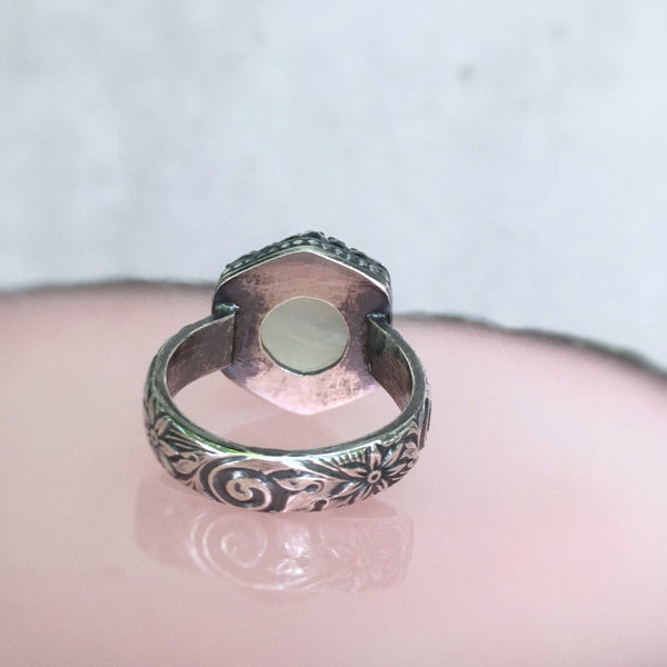 Prehnite Hexagon Ring - size 7.5
