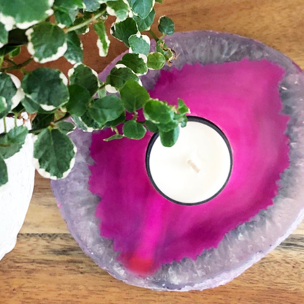 Crystal Tealight Candle Holder - PINK AGATE