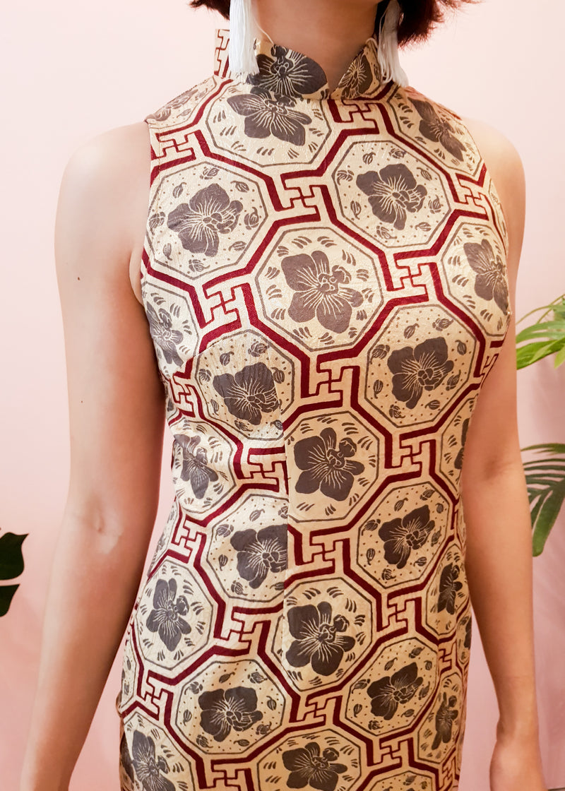 Cara Batik Cheongsam Dress - Burgundy Vanda