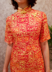 Qiqi Batik Cheongsam Dress - Orient Flame
