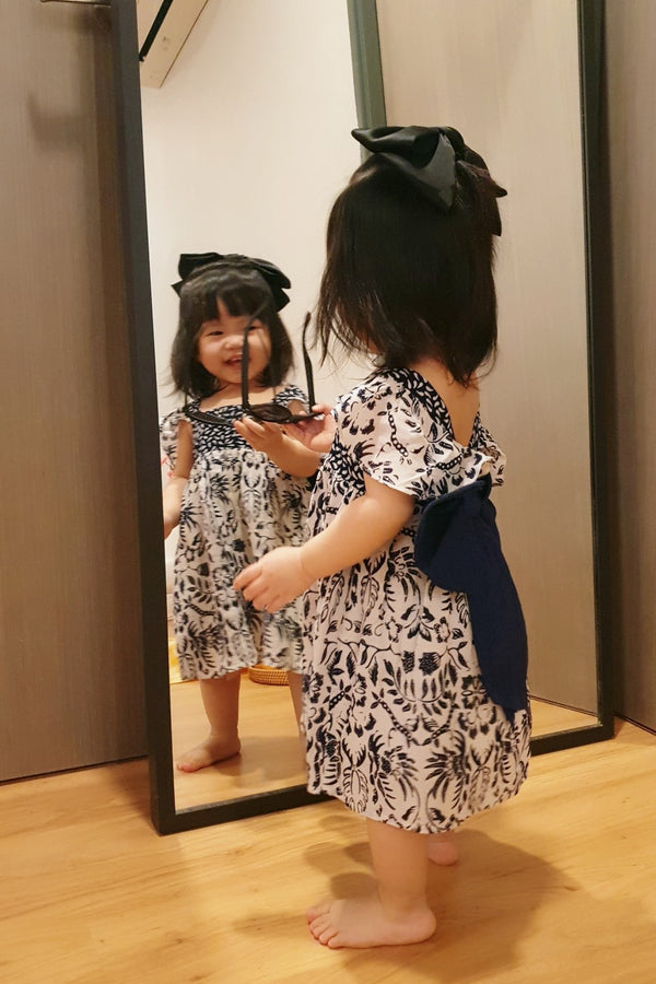Little Bella Batik Bow Dress - Midnight Porcelain