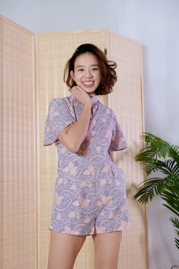 Koko Batik Cheongsam Playsuit - Cotton Candy