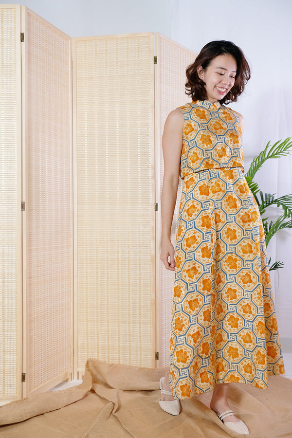 Kaili Batik Cheongsam Dress - Canary Vanda
