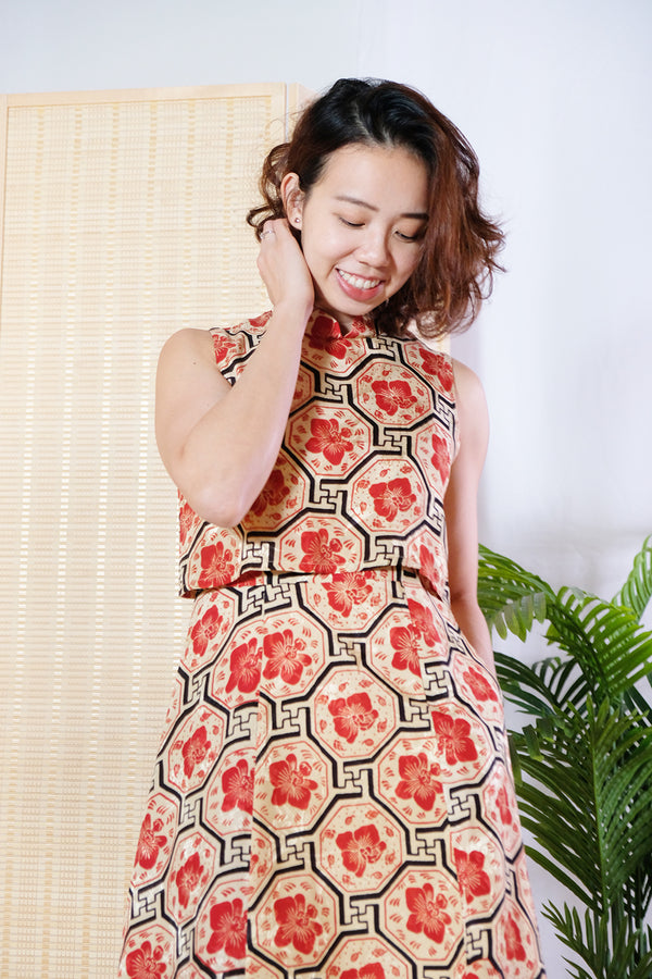 Kaili Batik Cheongsam Dress - Chili Vanda