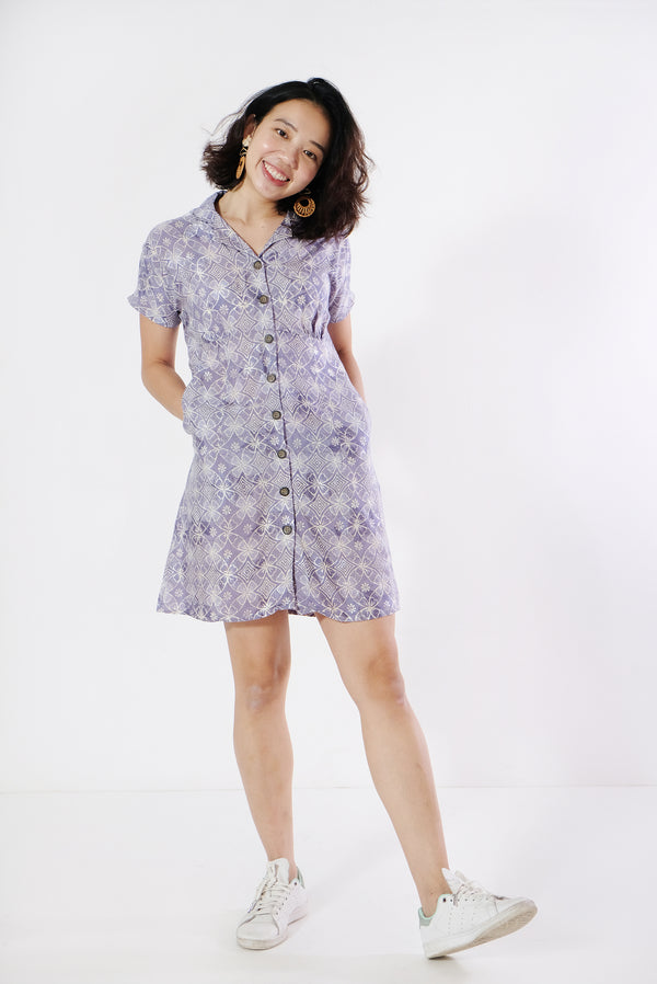 Eva Button Down Batik Dress - Periwinkle