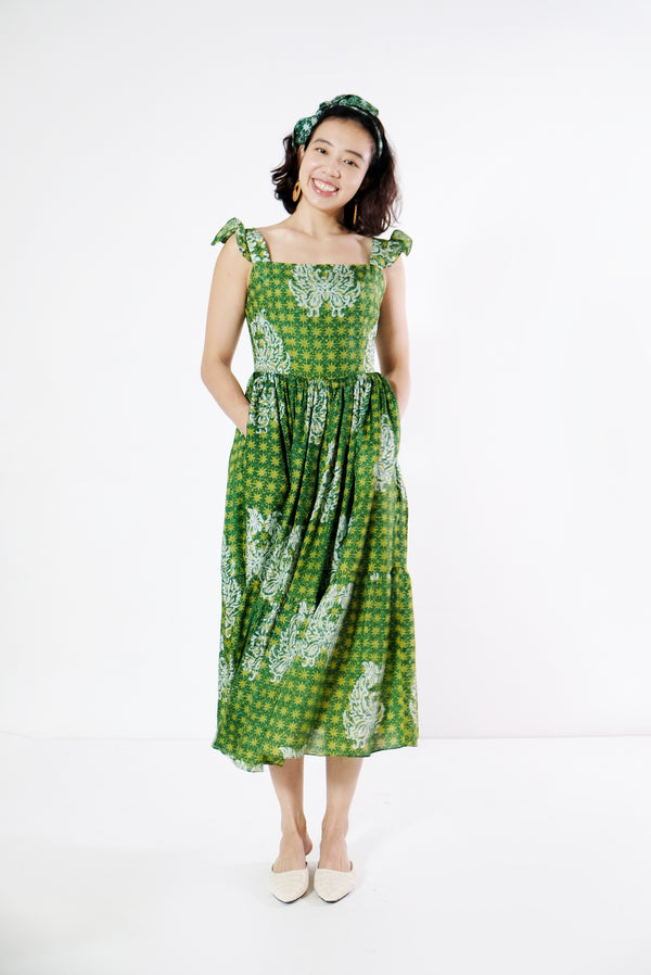QiaoHan Batik Swing Dress - Starry Sage