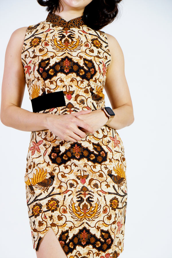 Kaia Batik Cheongsam Dress - Chocolate Fudge