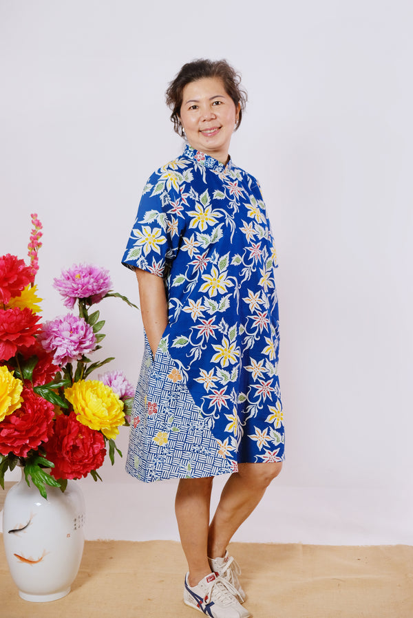 Tessa Batik Cheongsam Dress - Blue Autumn