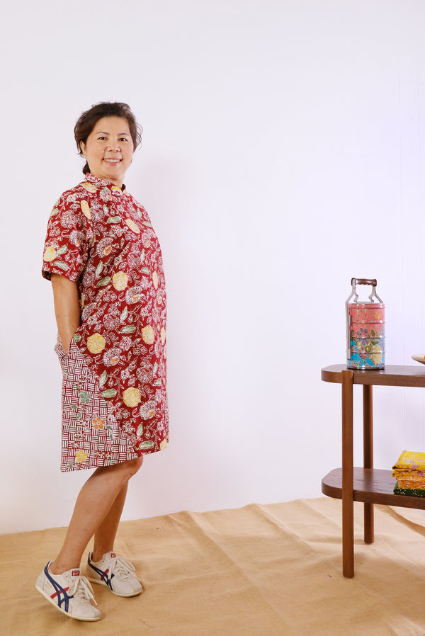 Tessa Batik Cheongsam Dress - Red Jungle