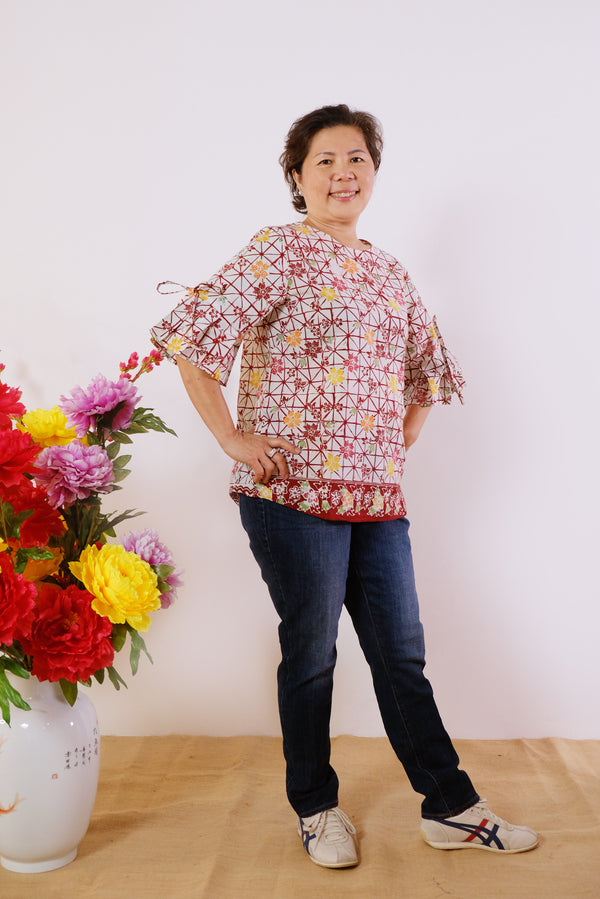 Flynn Batik Top - Cherry Apple