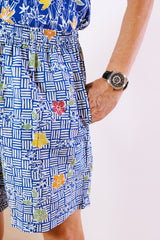 Blue Stitch Batik Shorts