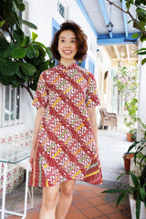 Tessa Batik Cheongsam Dress - Red Puzzle