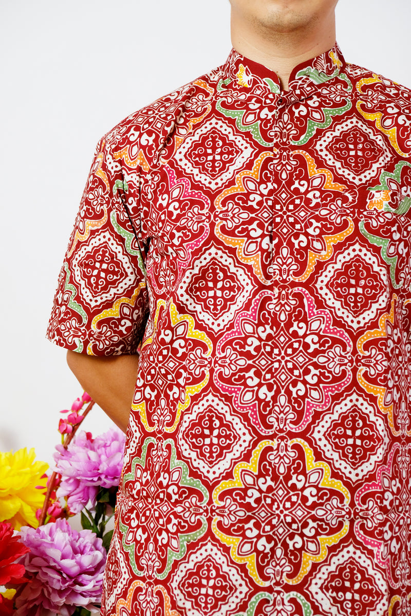 Red Jewel Batik Shirt