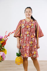 Dixie Batik Dress - Red Gems
