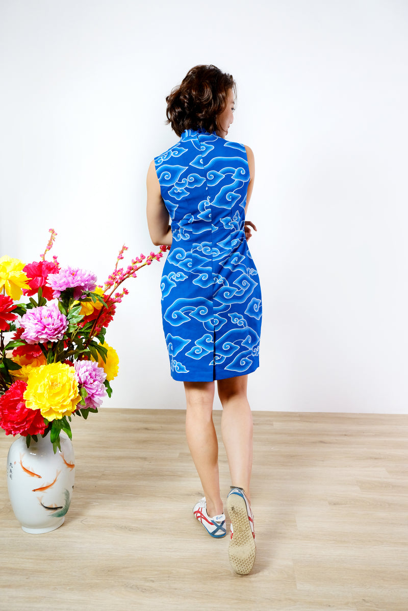 Kate Batik Cheongsam Dress - Sapphire Clouds