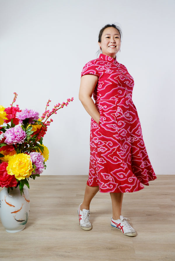 Enny Batik Cheongsam Dress - Ruby Clouds