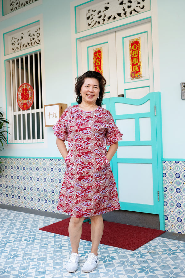 Nara Batik Cheongsam Dress - Apple Clouds