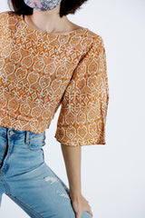 Luna Split Sleeve Batik Top - Rustic Gold
