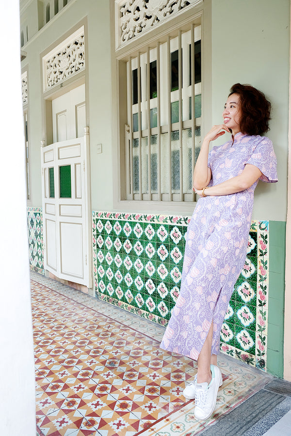 Kiki Batik Cheongsam Jumpsuit - Cotton Candy