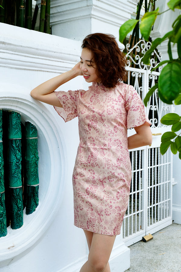 Tyra Batik Cheongsam Dress - Peach Smoothie