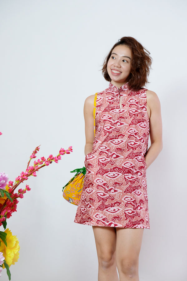 Gigi Batik Cheongsam Dress - Red Clouds