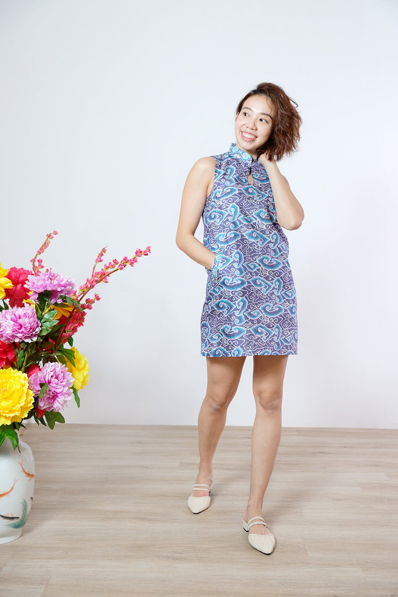 Gigi Batik Cheongsam Dress - Blueberry Clouds