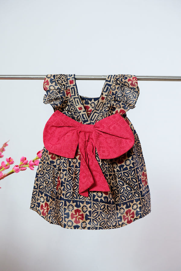 Little Bella Batik Bow Dress - Golden Sparkle