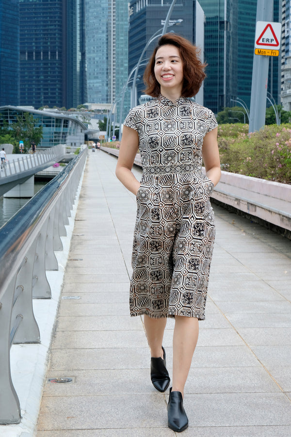 Rhea Batik Cheongsam Jumpsuit - Rustic Timber