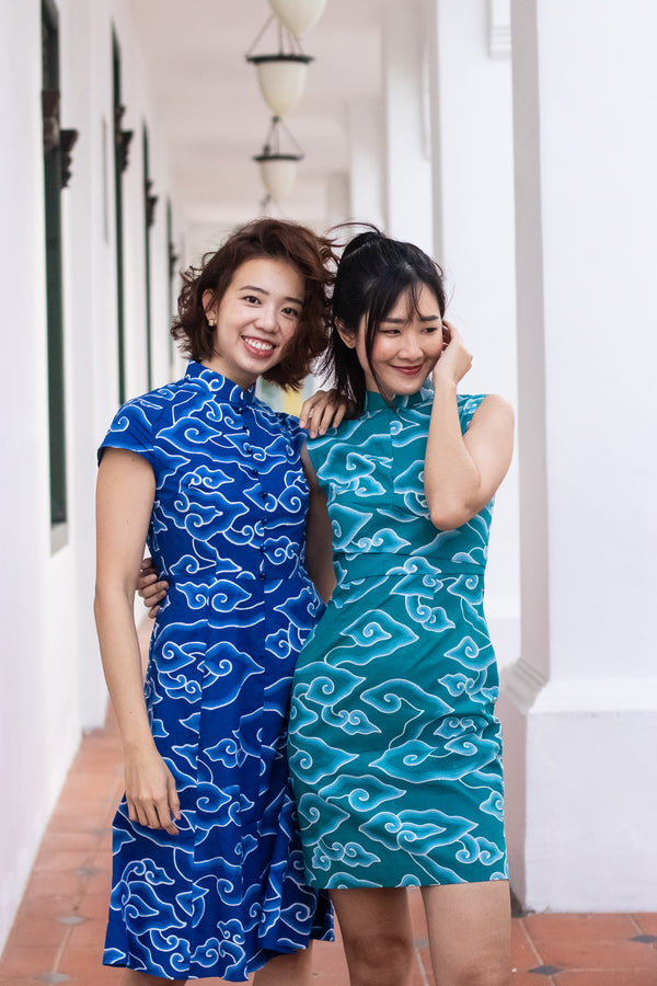 Kate Batik Cheongsam Dress - Emerald Clouds