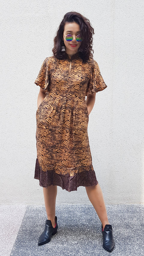 Rotorua Batik Cheongsam Dress - Golden Clouds